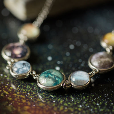 Moons of the Solar System Double Sided Necklace - The Foxtrot Clothing