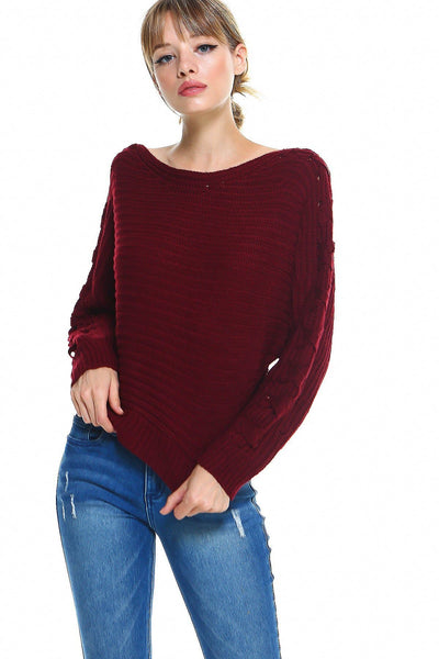 Lace Up Sleeve Detail Sweater Top - The Foxtrot Clothing