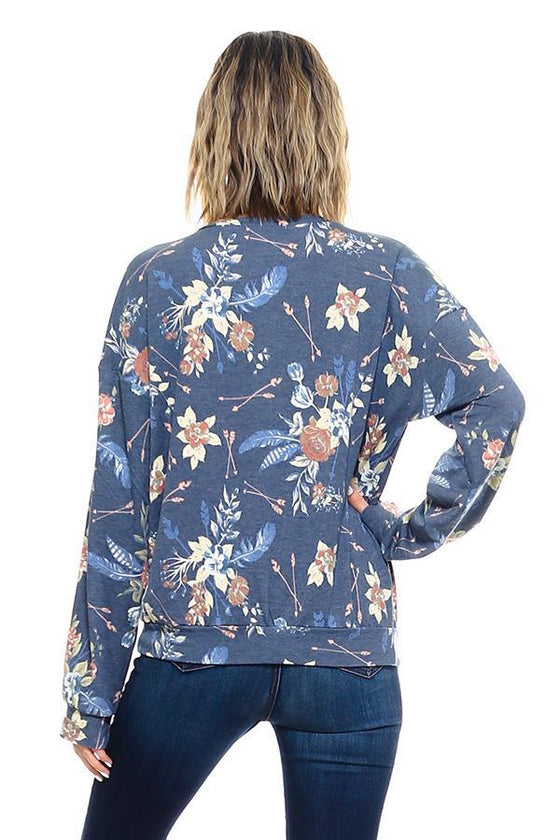 French Terry Floral Print Sweatshirts - The Foxtrot Clothing