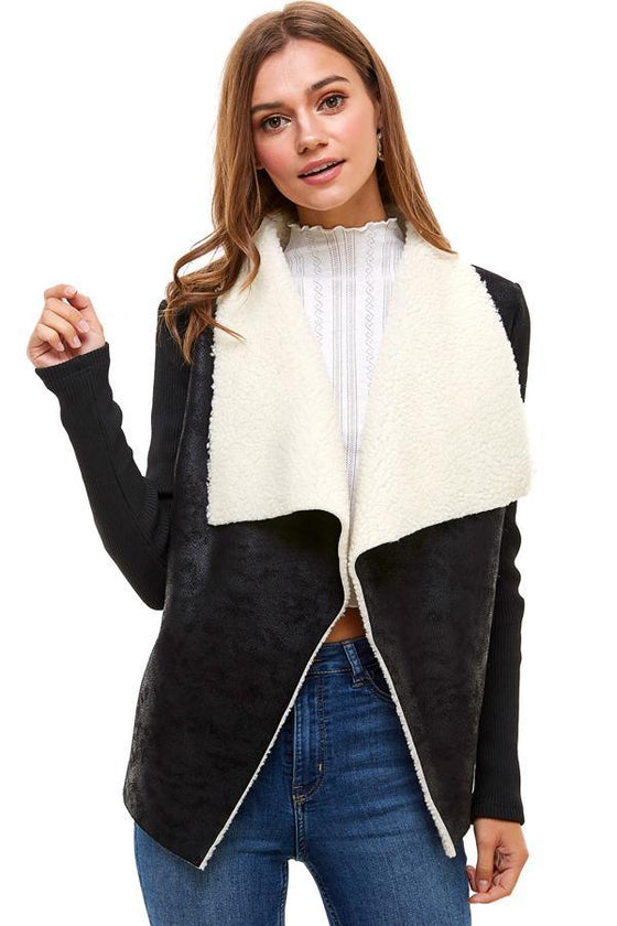 Sherpa Drape collar Jacket - The Foxtrot Clothing