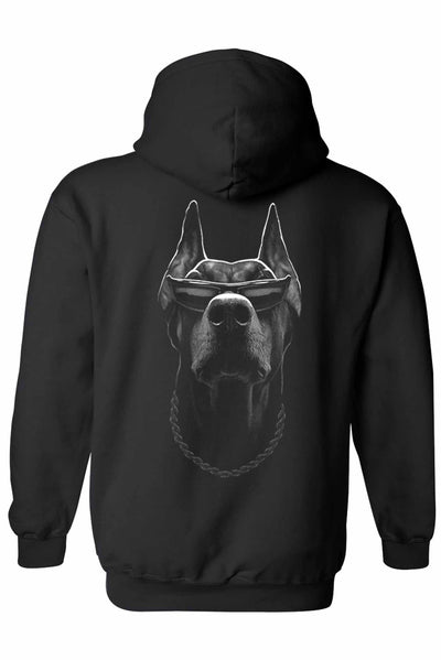 Unisex Pullover Hoodie Cool Doberman with Shades - The Foxtrot Clothing