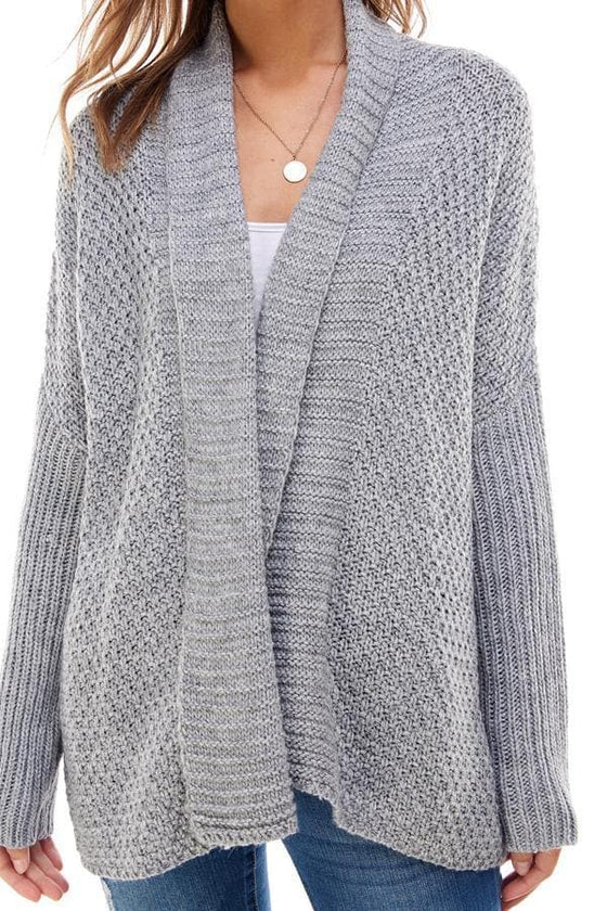 Two-Tone Drape Front Sweater Cardigan - The Foxtrot Clothing