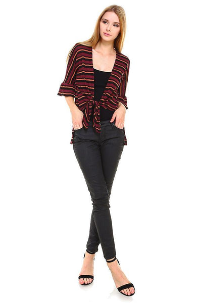 Multi Stripe Hi-Low Front Tie Cardigan - The Foxtrot Clothing