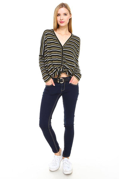 Stripe Button Down Dolman Sleeve Cardigan - The Foxtrot Clothing