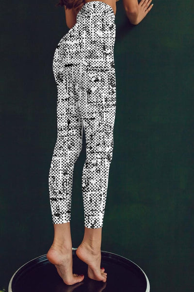 Abstract Black and White Leggings, Capris, Shorts - The Foxtrot Clothing