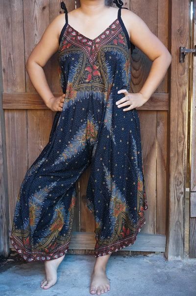 Black Peacock Boho Hippie Jumpsuit Rompers- The Foxtrot Clothing - The Foxtrot Clothing