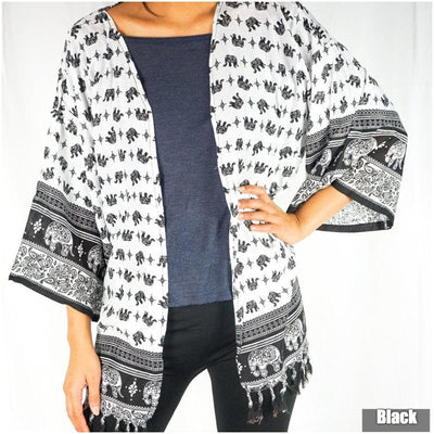 Elephant Tribal Boho Kimono Cover Up - The Foxtrot Clothing