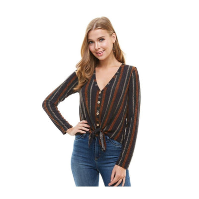 Printed Knit Wood Button Down Tie Front Cardigan - The Foxtrot Clothing