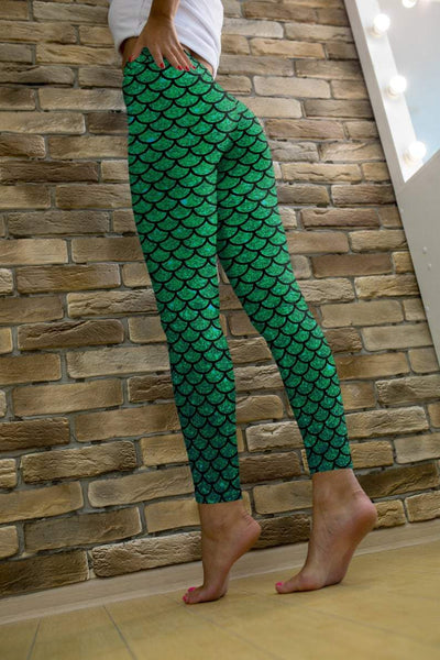 Green mermaid leggings, Capris and Shorts - The Foxtrot Clothing