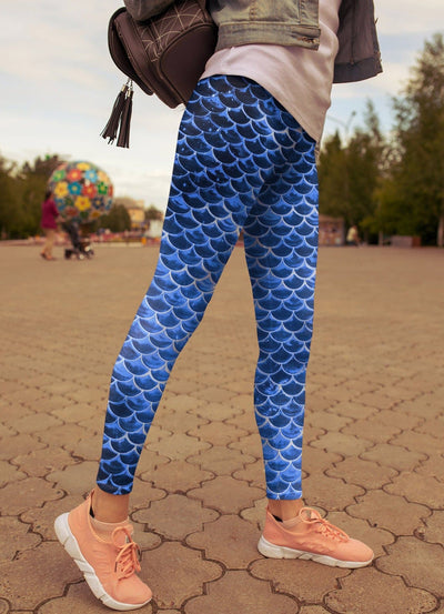 High Waist Blue Mermaid Leggings - The Foxtrot Clothing