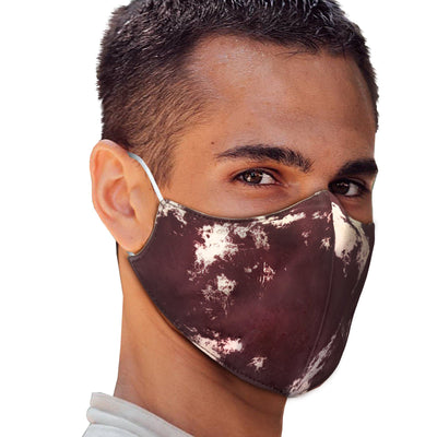 Burgundy White Tie Dye Face Mask - The Foxtrot Clothing