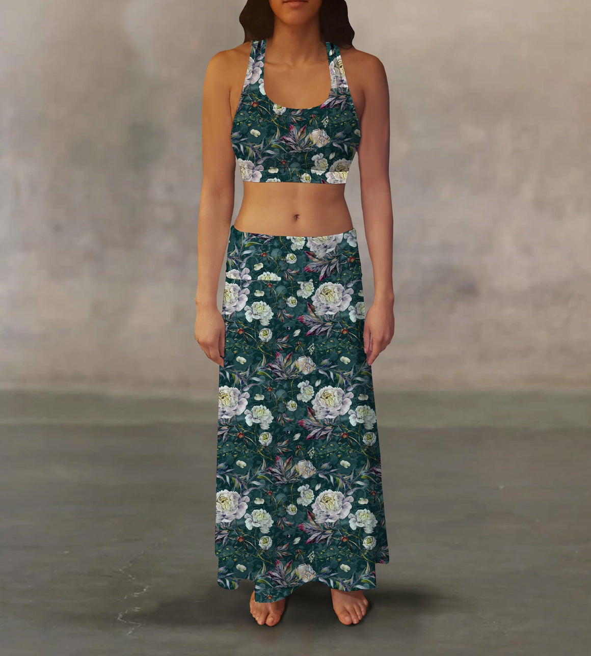 Emerald White Roses Maxi Skirt