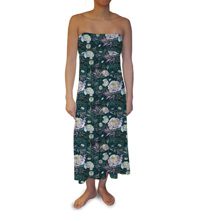 Emerald White Roses Maxi Skirt - The Foxtrot Clothing