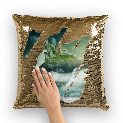 Flying Over The World Sequin Cushion Cover- The Foxtrot Clothing - The Foxtrot Clothing