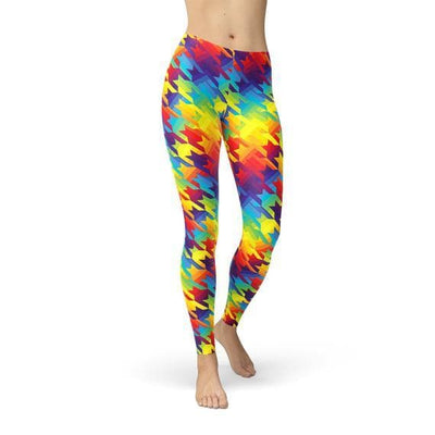 Womens Rainbow Houndstooth Leggings - The Foxtrot Clothing