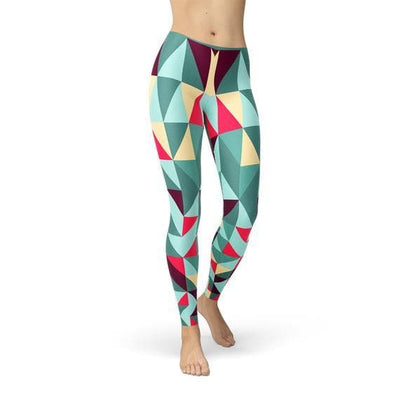 Womens Leggings w/ Colorful Geometric Triangles - The Foxtrot Clothing