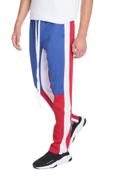 COLOR BLOCK TRACK PANTS- ROYAL/RED - The Foxtrot Clothing