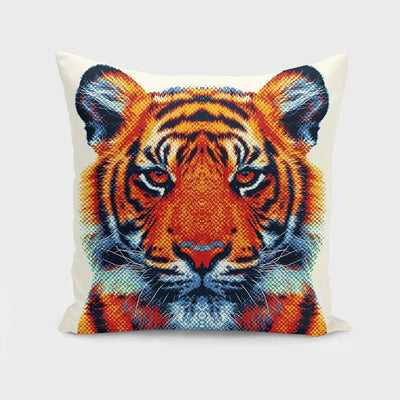Tiger - Colorful Animals Pillow- The Foxtrot Clothing - The Foxtrot Clothing
