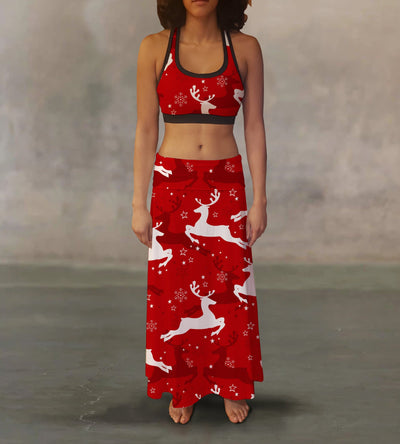 Red White Reindeer Maxi Skirt - The Foxtrot Clothing