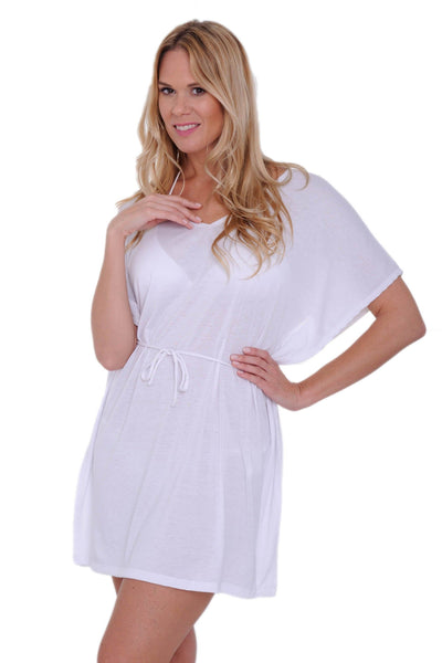 Women's Tie Waist Tunic Swimwear Cover-up Beach Dress Made in the USA - The Foxtrot Clothing