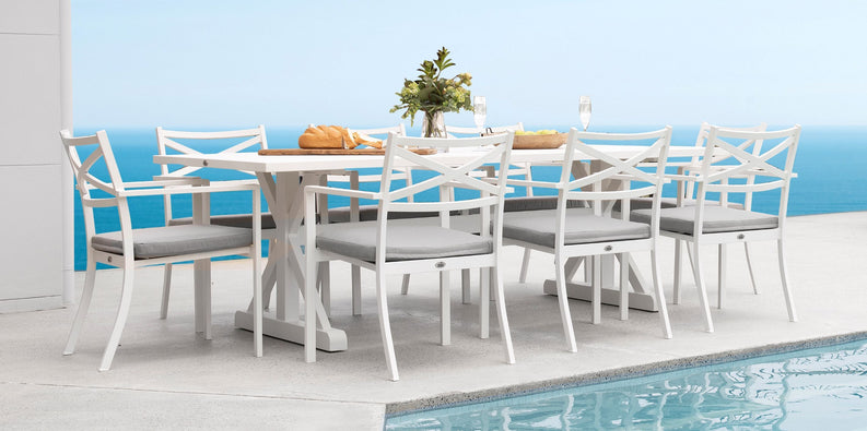Elements Outdoor Living - 9pce Vienna Table & Pesaro Chairs