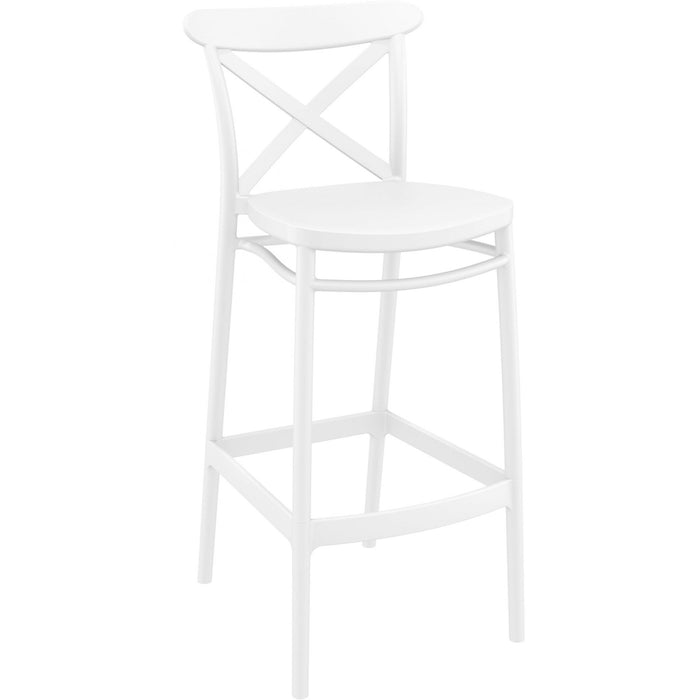 HAMPTONS CROSS BARSTOOL - WHITE