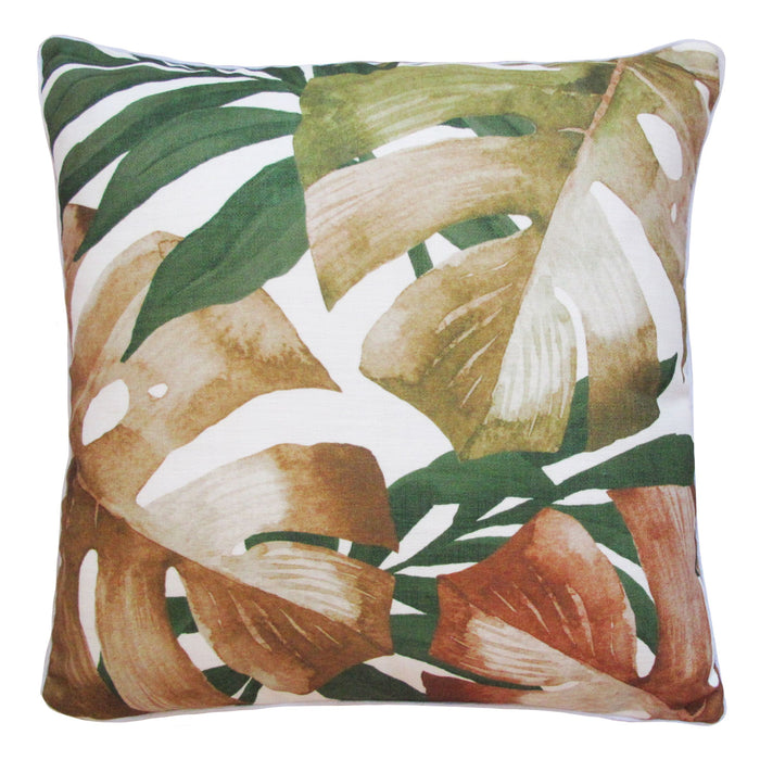 CABANA LEAVES OUTDOOR CUSHION - TERRACOTTA