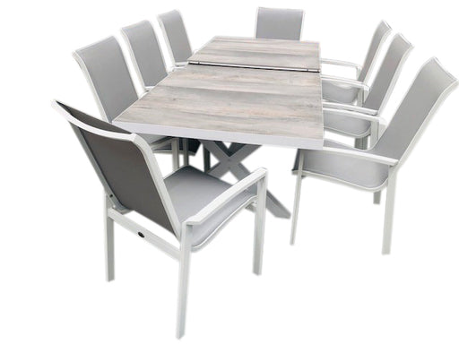 9 PCE MEMPHIS EXTENSION - WHITE/WOODLOOK CERAMIC & CASTELLA -WHITE/GREY