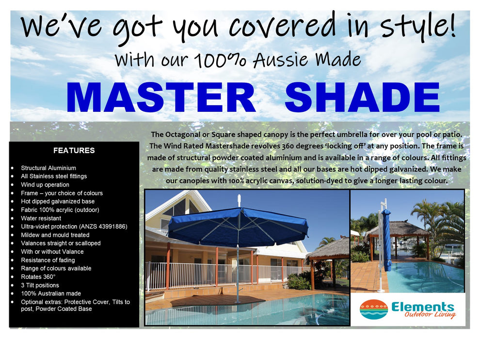 MASTERSHADE 4.5M OCT SIDEPOST UMBRELLA WITH VALANCE