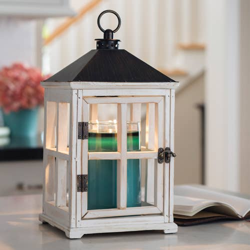 Wooden Candle Warmer Lanterns  Weathered White
