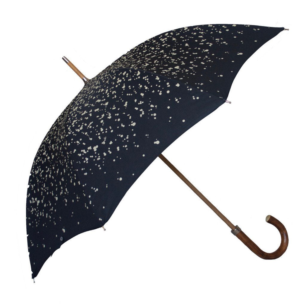 Raindrop printed Polyester canopy.  Wooden Stick.  Nickel fi nishes, engraved tip cup.  Natural Bark Chestnut handle.  Available in Navy/White  #mrstanford
