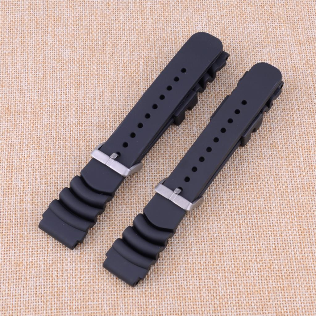 20MM/22MM Black Rubber Sport Watch Band Strap Fit for Seiko Diver Scuba