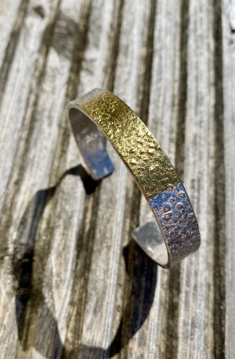 Silver and Gold 'Retic' Bangle