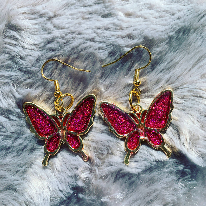 Handmade resin butterfly earrings