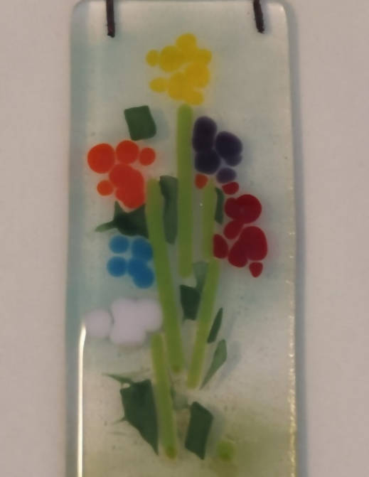 Fused glass rainbow floral window or wall hanging. Keepsake gift. Thank you gift. Handcrafted glassware from SW Scotland