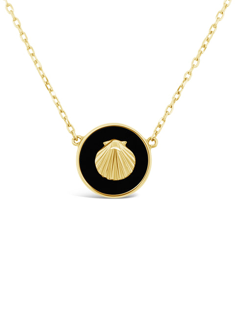 14K Yellow Gold Seashell / Black Onyx Pendant