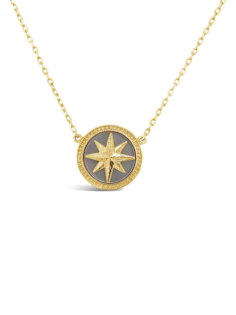14K Yellow Gold Compass Rose / Mother of Pearl Pendant