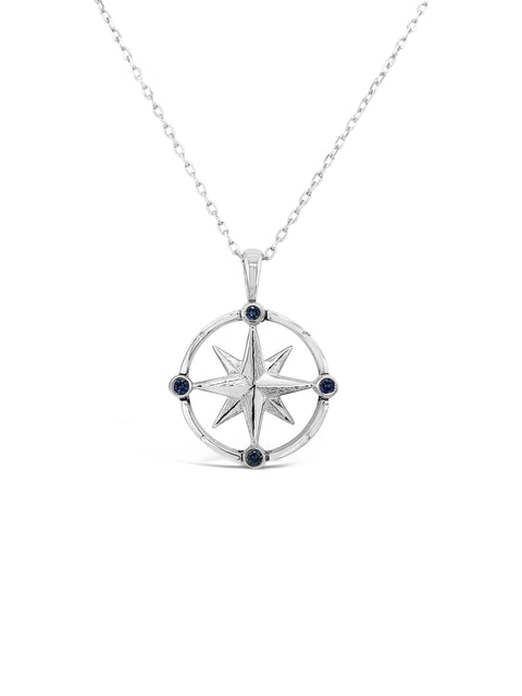 Sterling Silver / Blue Sapphire Compass Rose Pendant