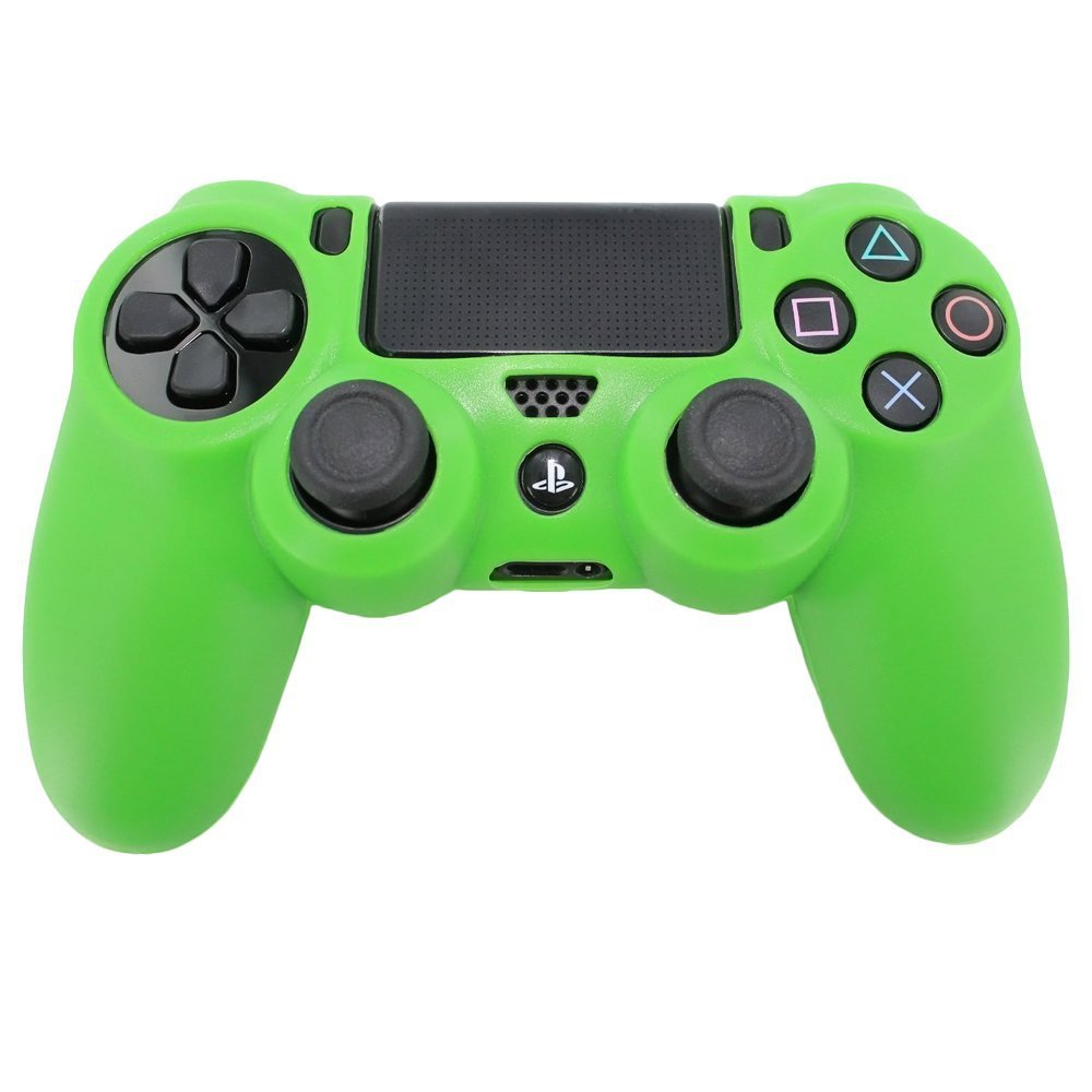 Pro Soft Silicone Protective Cover with Ribbed Handle Grip - Green - PS4