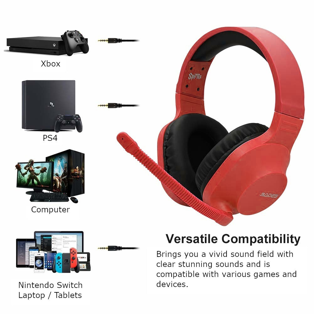 SADES Spirits Universal Gaming Headset (Red) - Xbox One