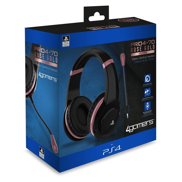 4Gamers PRO4-70 Wired Stereo Gaming Headset (Rose Gold) - PS4