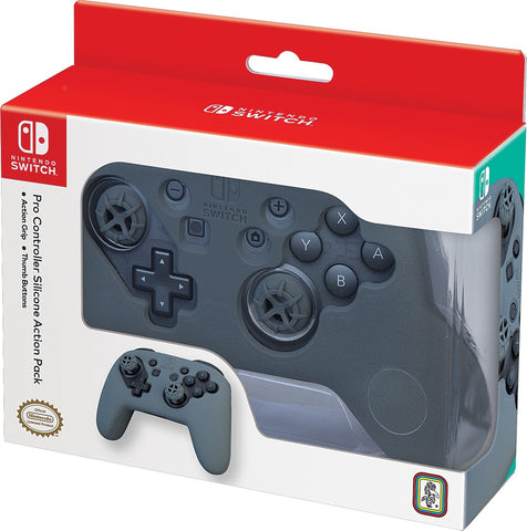 Nintendo Switch Pro Controller Action Grip & Thumb Buttons - Grey - Nintendo Switch