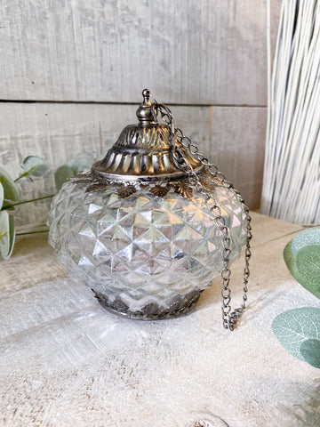 Copy of The Battery Operated Lantern - iridescent pewter round