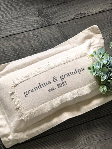 "Grandpa & Grandma EST 2021 Pillow - 16"" x 9.5"""