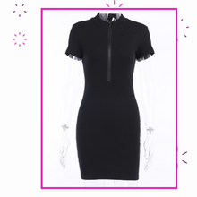 Load image into Gallery viewer, Zippin Around Dress (Black)