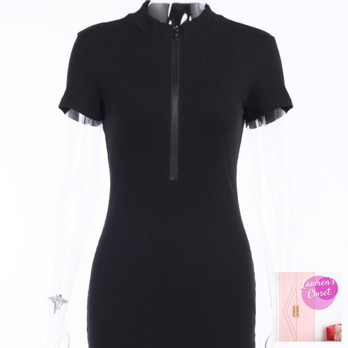 Zippin Around Dress (Black)