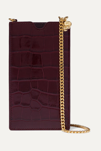 ALEXANDER MCQUEEN Croc-effect leather phone case