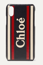 CHLOÉ Printed textured-leather iPhone X and XS case