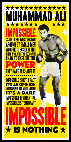 muhammad ali poster, ali quote, cassius clay print, impossible is nothing,