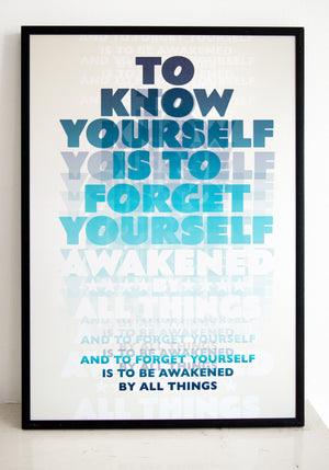 buddhism, know yourself, Dogen, typography, awakening